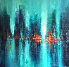 Original Abstract Painting by Tracey Rowan Reflection Art, Abstract City, Cool Art, Awesome Art, Texture Art, Pictures To Paint, Surreal Art, Sculpture Art, Original Paintings