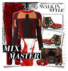 """""""walk in red & leopard."""" by linds-rae ❤ liked on Polyvore featuring WALL, House of Holland, Haider Ackermann, adidas Originals, Jimmy Choo, Mixit and Chico's"""