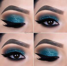 13 Great Blue Eyeshadow Looks That Make You Charming! – Blaue Lidschatten-Ideen, blaue Make-up-Looks, blaue Lidschatten-Looks, Make-up-Ideen-Abschlussball, Blue Eyeshadow Makeup, Prom Eye Makeup, Blue Eyeshadow Looks, Shimmer Eyeshadow Palette, Purple Makeup, Eye Makeup Tips, Makeup For Brown Eyes, Makeup Ideas, Eyeshadow Ideas