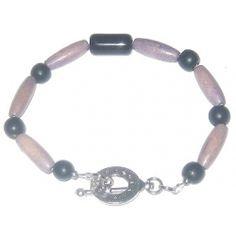 Black and Pale Purple Wood Bracelet by AngieShel Designs at www.angiesheldesigns.com