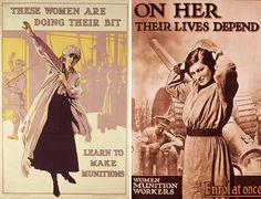 Circa 1916: Recruitment posters urge British women to work in munitions factories