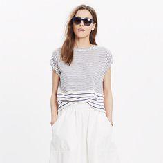 Slouchy and slightly cropped, this striped pocket tee is made of textural slub cotton for that perfectly imperfect look we love. <ul><li>Slightly cropped, boxy fit.</li><li>Cotton.</li><li>Machine wash.</li><li>Import.</li></ul>