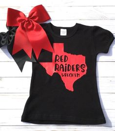 Entryway Fall Decor Red Raiders Shirt/ Wreck& for Girl/ Texas Tech/Toddler T shirt/Red and Black Shirt/Lubbock Texas/College Football Clothes Raiders Shirt, Red Raiders, Raiders Football, Tutus For Girls, Shirts For Girls, Tutu Outfits, Girl Outfits, Toddler Girl Gifts, Toddler Girls