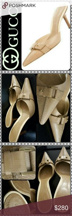Gucci Italy Leather Mules Gucci Designer Shoes in Gorgeous Tan Leather Mules, Pointed Toe Style with Gold Tone Logo Embellishments at Vamps!   Earth Tone Shade Ideal for Any Outfit, Tonal Stitching Throughout, Stacked Heels of About 3.5 inches, Worn and PreLoved but in Good Used Condition, Size 40C, A Must Have for Every Posh Closet! Gucci Shoes Mules & Clogs