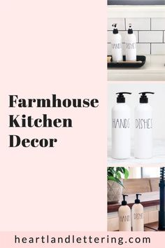 This Farmhouse Kitchen Soap Bottles are perfect for any kitchen. Get one step closer to your dream kitchen with the white bottles that match any decor and instantly make your whole home look organized!
