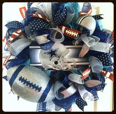 XL Dallas Cowboys Football Wreath  Deluxe by StephsDoorDecor