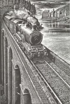 "Andrew Davidson wood engraving commissioned for the adult editions of the Harry Potter books. Davidson says: ""I wanted them to look as if they had come straight from the pages of a book taken from the library at Hogwarts."""