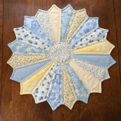 French Country Dresden Plate Yellow Blue & White by seaquilt