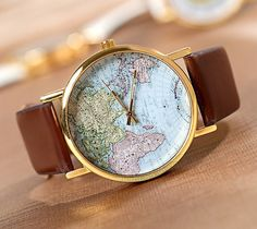 World Map Watch Unisex Watch Leather Watch by Carlydiy on Etsy, $4.99
