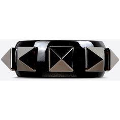 Valentino Garavani Rockstud Plexi Cuff ($470) ❤ liked on Polyvore featuring jewelry, bracelets, black, lucite jewelry, studded jewelry, acrylic bangle, lucite bangle and acrylic jewelry
