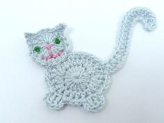 Crochet cat crochet appliques 1 grey applique cat