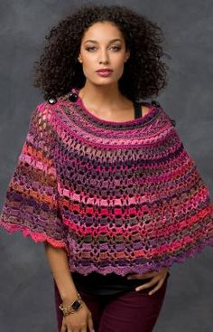 "Dubonnet Poncho - Beautiful shaded yarn makes it easy to crochet this stunning poncho. The drapey style looks wonderful on all body types.  RH Boutique Unforgettable: 2 (3) balls Winery  Crochet Hook: H/8/5mm for Child size, J/10/6mm for Adult size  Four 1 (1¼)"" [25 (32) mm] glass buttons, yarn needle Directions for Child/Adult are worked the same using different size hooks.  Finished Neck (across top of 1collar piece): 11 (13)""  Finished Length: 15 (21)"" free pdf"