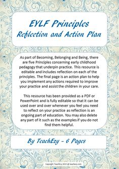 As part of Becoming, Belonging and Being, there are five Principles concerning early childhood pedagogy that underpin practice. This resource is editable and includes reflection on each of the principles. Early Childhood Education, Childcare, Teaching Resources, Lesson Plans, Programming, Curriculum, Reflection, Improve Yourself, Action