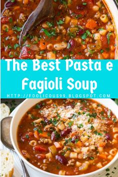 The Best Pasta e Fagioli Soup - food - Best Food Recipes The Best Pasta e Fagioli Soup Informationen zu The Best Pasta e Fagioli Soup - Pasta Fagioli Recipe Vegetarian, Pasta Fagioli Crockpot, Pasta E Fagioli Soup, Italian Soup Recipes, Healthy Soup Recipes, Pasta Recipes, Pasta Carbonara, Slow Cooker Recipes, Cooking Recipes