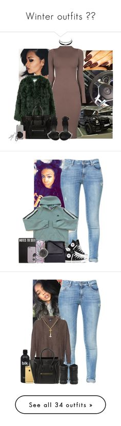 """Winter outfits ❄️"" by azriecutie ❤ liked on Polyvore featuring MANGO, CÉLINE, Native Union, Charlotte Russe, Witchery, Zara, adidas, Converse, Sophie Hulme and Primitives By Kathy"