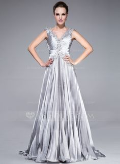 A-Line/Princess V-neck Sweep Train Charmeuse Prom Dress With Beading Appliques Lace Sequins Pleated (017041110)