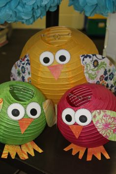 Use white lanterns for snowy owl for winter display in January...owls