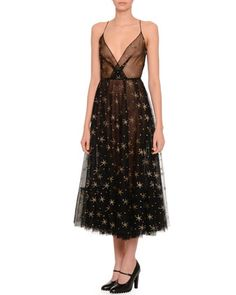Star+Illusion+Tulle+Dress,+Black/Gold+by+Valentino+at+Neiman+Marcus+Last+Call.