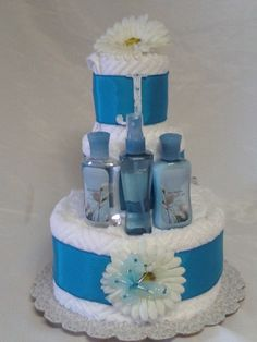 Towel cake bath large - thinking something similar with my hand knitted wash cloths, body scrub and other cute bath/spa items