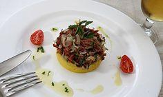 Carne-seca com mandioquinha e cogumelos