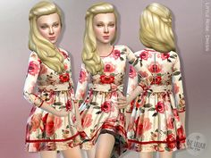 The Sims Resource: Little Rose dress by lillka • Sims 4 Downloads