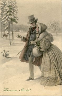 Vintage winter couple