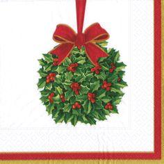 Caspari Kissing Ball White Christmas Mistletoe Theme Printed 3-Ply Paper Cocktail Beverage Napkins Wholesale 13350C