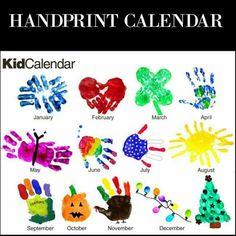 Handprint Calendar - I always love finding handprint art projects! Kids Crafts, Crafts To Do, Preschool Crafts, Projects For Kids, Craft Projects, Arts And Crafts, Infant Art Projects, School Projects, Decor Crafts
