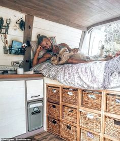 Globe-trotters unveil their converted white vans which have been turned into stunning homes Daily Mail Online Van Conversion Interior, Camper Van Conversion Diy, Kombi Home, Caravan Home, Converted Vans, Camper Life, Bus Life, Ideas Para Organizar, Campervan Interior