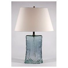 Lamp Works Oval Blue Green Sea Glass Table Lamp