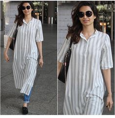 Karishma# casual travel look # long kurta # denim Look # Kurta Designs Women, Blouse Designs, Indian Attire, Indian Wear, Indian Designer Outfits, Designer Dresses, Indian Dresses, Indian Outfits, Kurta Style