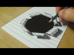 Trick Art on Line Paper  _ Drawing Half Sphere Optical Illusion - Anamorphic Illusion with Pencils - YouTube