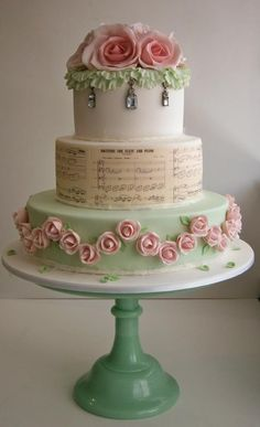Shabby Chic Wedding Cake pink and green, love the sheet music by The Cake That Ate Paris cake Event Planning Australia