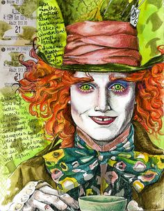 i really like this colourful image of Jonny Depp as the classic comedy character of alice in wonderland. the mad hatter , this really captures his unusual appearance and wacky sense of style.