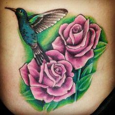 Hummingbird and roses tattoo #tattoocharlies