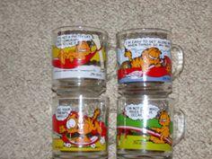 Early 80's McDonalds Glass Garfield Coffee Mugs 4 Set