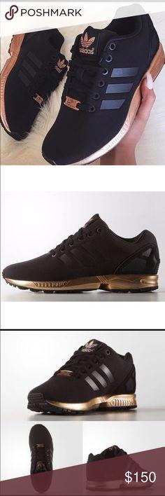 womens adidas zx flux black copper rose gold metallic nmd nz