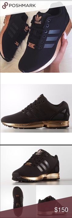 Limited edition Adidas zx flux Black and gold sz6 I will post my own original pics when I get a chance. I have these shoes in size 6 in women's but they do run large and can fit a 6.5 or 7 i wore them twice but they fit me big so they are in like new condition!! Adidas Shoes Sneakers