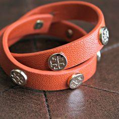 Designer-Inspired Double Wrap Medallion Bracelet - Orange $16