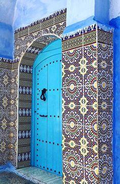 Chefchaouen, Morocco / view beautiful custom door hardware handcrafted by master artisans > https://balticacustomhardware.com/customdoorhardware/backplate-sets.html