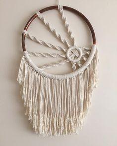 Macrame Hoop Wall Hanging.  Made with cotton cord rope and copper pipe hoop.  Hoop measures 50cm diameter.  Only one available.