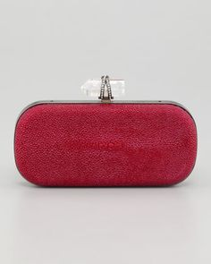 Lily Medium Stingray Box Clutch, Pink by Marchesa at Bergdorf Goodman.