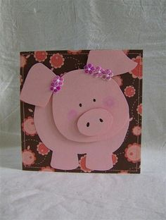 (love this piggie! Amazing paper crafts on this sight! Pig Crafts, Crafts For Kids, Paper Crafts, Punch Art Cards, Paper Punch, Pig Party, Animal Cards, Little Pigs, Kids Cards