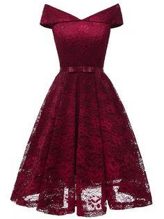 LaceShe Damen Vintage Off Shoulder Spitzenkleid – Cocktail dress Robes Vintage, Vintage Dresses, Dance Dresses, Short Dresses, Dresses Dresses, Dresses Online, Casual Dresses, Woman Dresses, Linen Dresses