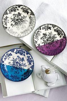 Dipped Toile Dessert Plate, Black Motif | Anthropologie.eu
