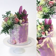 Buttercream cake with deep purple