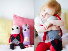 ♥♥♥ Snuggly Ugly dolls hand-made from up-cycled cashmere sweaters. So fun, so soft!