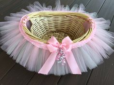 Pink and Grey Tutu Basket Pink and Gray Tutu by MissMadelynsBows