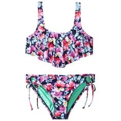 Xhilaration Juniors 2-Piece Swimsuit -Floral Print