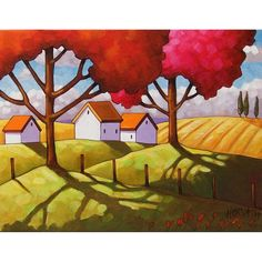 Giclee Art Print by Cathy Horvath 5x7 Folk Art Fall Tree Shadow Colors, Country Fields Rural Landscape, Autumn Archival Artwork Reproduction